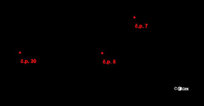 Radíkovice 5 na parcele st. 10 v KÚ Radíkovice, Katastrální mapa