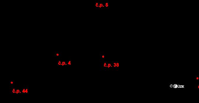 Hurtova Lhota 38 na parcele st. 38 v KÚ Hurtova Lhota, Katastrální mapa