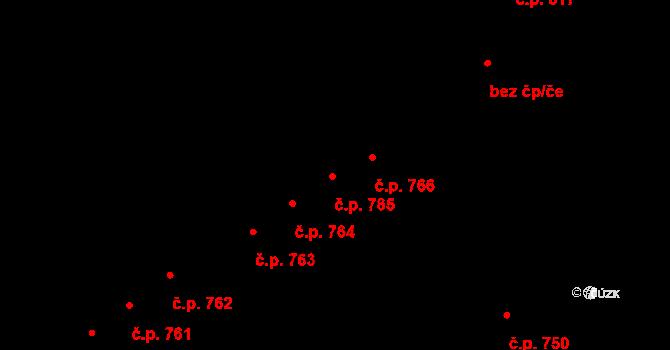 Újezd 765, Plzeň na parcele st. 1066/12 v KÚ Újezd, Katastrální mapa