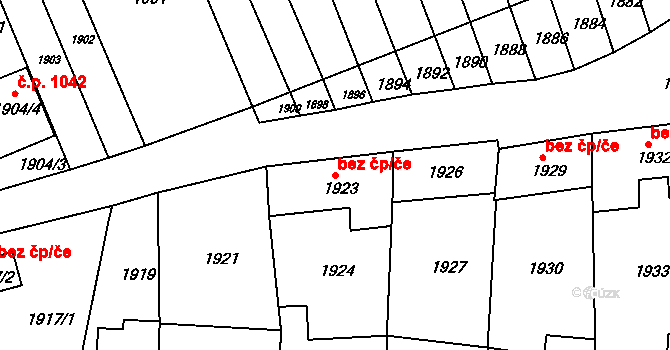 Újezd u Brna 49333364 na parcele st. 1923 v KÚ Újezd u Brna, Katastrální mapa