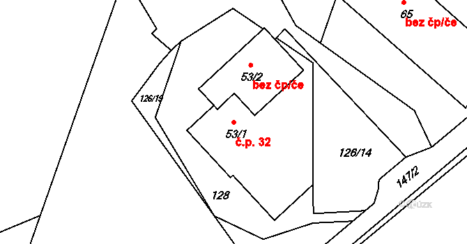 Chrámce 32, Skršín na parcele st. 53/1 v KÚ Chrámce, Katastrální mapa
