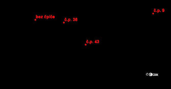 Sedlejov 43 na parcele st. 35 v KÚ Sedlejov, Katastrální mapa