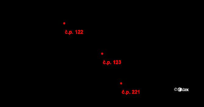 Lučany nad Nisou 123 na parcele st. 95 v KÚ Lučany nad Nisou, Katastrální mapa