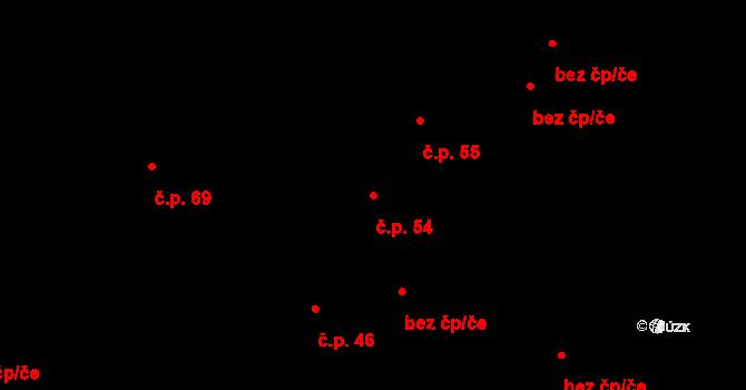 Malé Březno 54 na parcele st. 82/1 v KÚ Malé Březno, Katastrální mapa