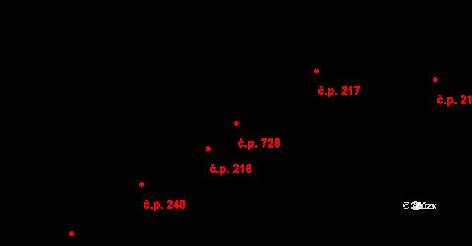 Kudlov 728, Zlín na parcele st. 316/1 v KÚ Kudlov, Katastrální mapa
