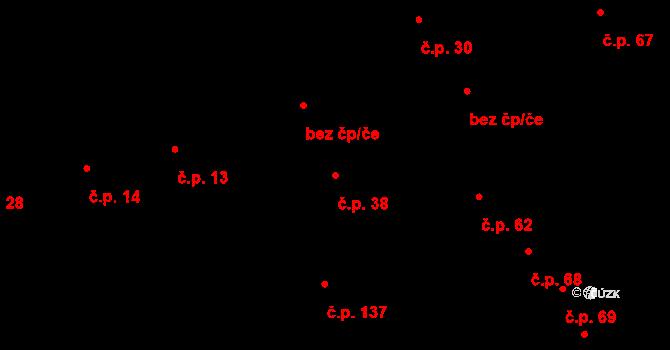 Dolní Lhota 38, Blansko na parcele st. 109 v KÚ Dolní Lhota, Katastrální mapa