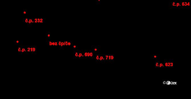 Strašnice 719, Praha na parcele st. 2129 v KÚ Strašnice, Katastrální mapa
