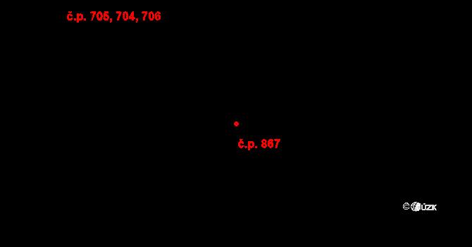 Malenovice 867, Zlín na parcele st. 1033 v KÚ Malenovice u Zlína, Katastrální mapa