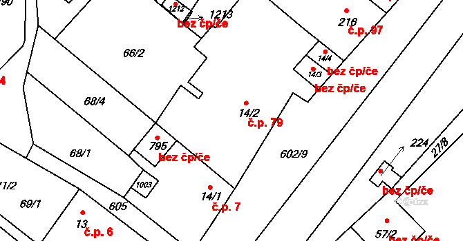 Davle 79 na parcele st. 14/2 v KÚ Davle, Katastrální mapa