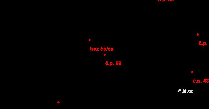 Vilémov 58, Humpolec na parcele st. 122/1 v KÚ Vilémov u Humpolce, Katastrální mapa
