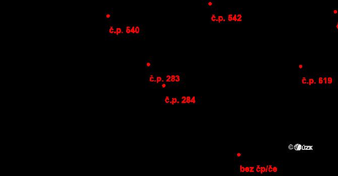 Okříšky 284 na parcele st. 273 v KÚ Okříšky, Katastrální mapa