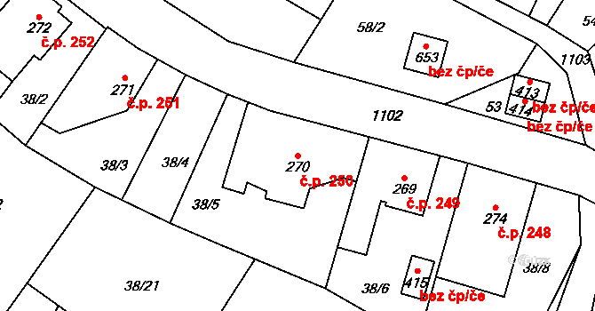Bílá Třemešná 250 na parcele st. 270 v KÚ Bílá Třemešná, Katastrální mapa