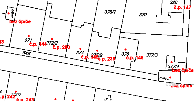 Nemilany 238, Olomouc na parcele st. 375/2 v KÚ Nemilany, Katastrální mapa