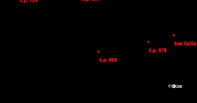 Průhonice 685 na parcele st. 959/259 v KÚ Průhonice, Katastrální mapa