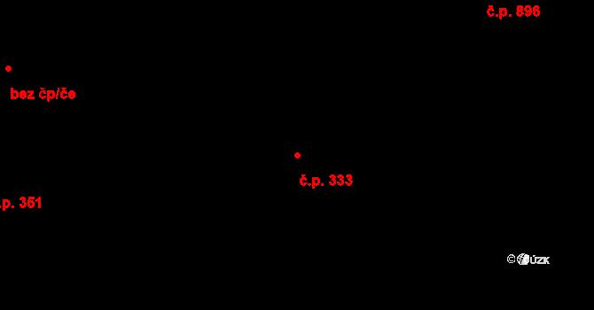 Čakovice 333, Praha na parcele st. 1099/7 v KÚ Čakovice, Katastrální mapa