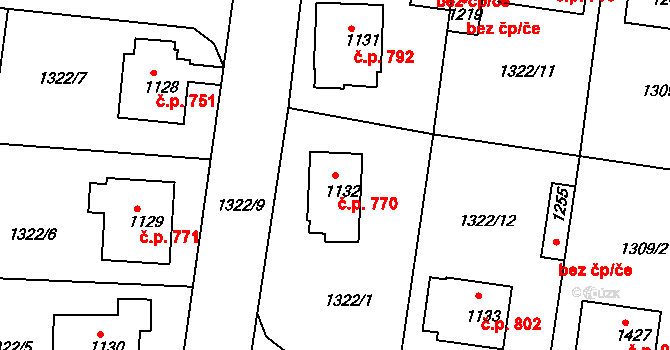 Nové Strašecí 770 na parcele st. 1132 v KÚ Nové Strašecí, Katastrální mapa