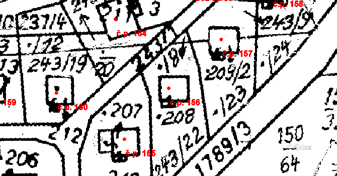 Studánka 156 na parcele st. 208 v KÚ Studánka u Tachova, Katastrální mapa