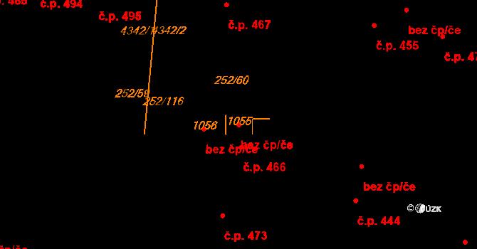 Němčice nad Hanou 95602381 na parcele st. 1055 v KÚ Němčice nad Hanou, Katastrální mapa