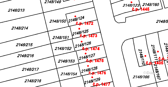 Nový Bor 1474 na parcele st. 2148/126 v KÚ Nový Bor, Katastrální mapa