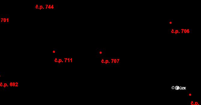 Prštné 707, Zlín na parcele st. 1135 v KÚ Prštné, Katastrální mapa