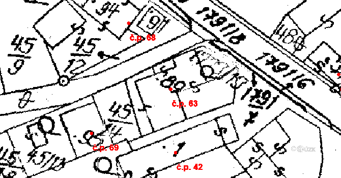 Vepřová 63 na parcele st. 89 v KÚ Vepřová, Katastrální mapa