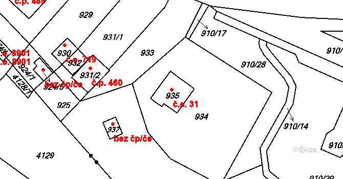 Brná 31, Ústí nad Labem na parcele st. 935 v KÚ Brná nad Labem, Katastrální mapa