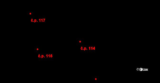 Nové Dvory 114 na parcele st. 69 v KÚ Nové Dvory u Velké Losenice, Katastrální mapa