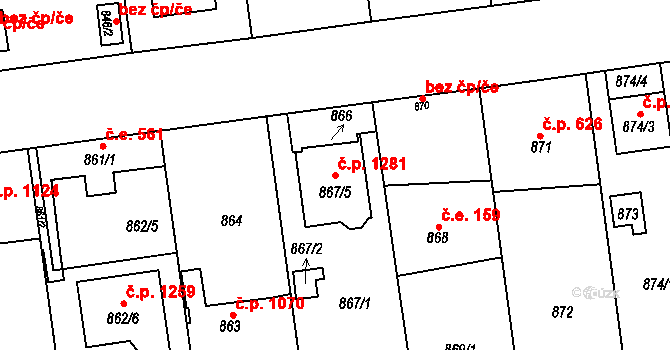 Skvrňany 1281, Plzeň na parcele st. 867/5 v KÚ Skvrňany, Katastrální mapa