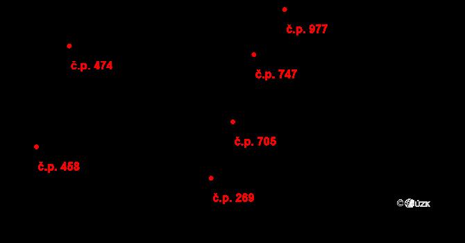Nivnice 705 na parcele st. 2043 v KÚ Nivnice, Katastrální mapa