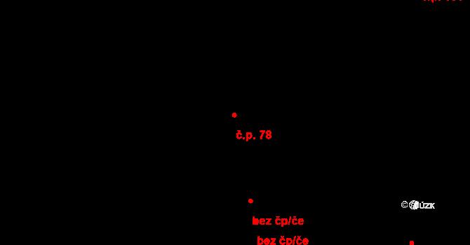 Horní Újezd 78 na parcele st. 350 v KÚ Horní Újezd u Litomyšle, Katastrální mapa