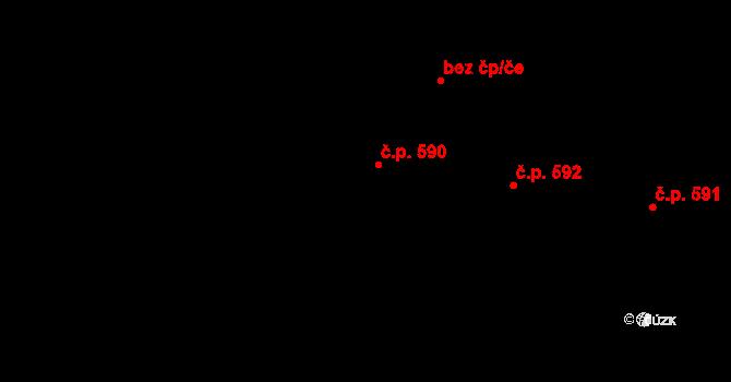 Hovězí 590 na parcele st. 2364 v KÚ Hovězí, Katastrální mapa