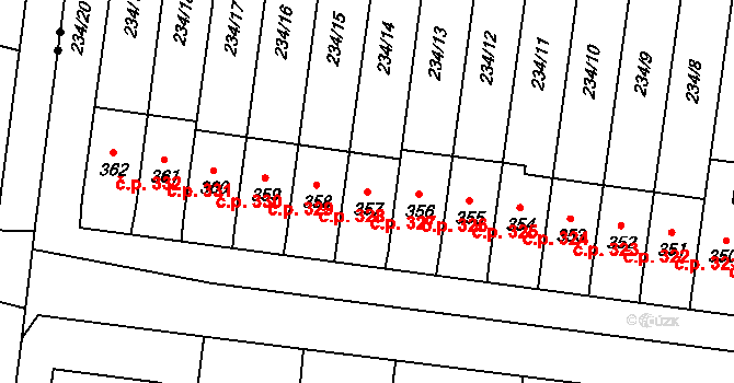 Čechovice 327, Prostějov na parcele st. 357 v KÚ Čechovice u Prostějova, Katastrální mapa