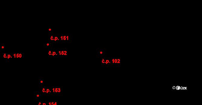 Slapy 102 na parcele st. 188 v KÚ Slapy u Tábora, Katastrální mapa