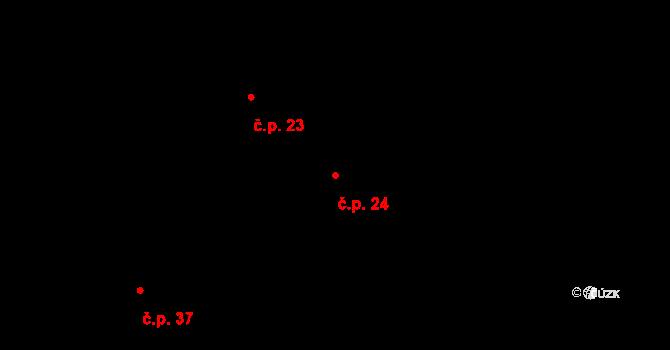 Zálesí 24, Příchovice na parcele st. 24/1 v KÚ Zálesí u Příchovic, Katastrální mapa