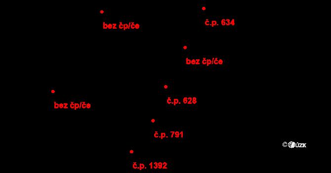 Kyjov 628 na parcele st. 604 v KÚ Kyjov, Katastrální mapa