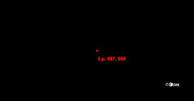 Kbely 987,988, Praha na parcele st. 1168/8 v KÚ Kbely, Katastrální mapa