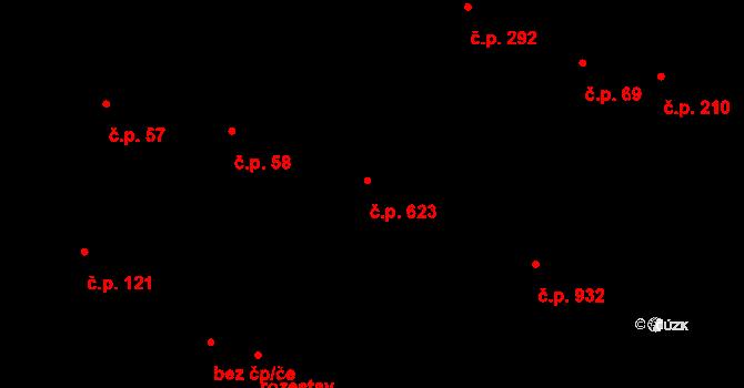 Starý Plzenec 623 na parcele st. 100/2 v KÚ Starý Plzenec, Katastrální mapa
