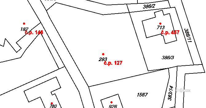 Kudlov 127, Zlín na parcele st. 293 v KÚ Kudlov, Katastrální mapa