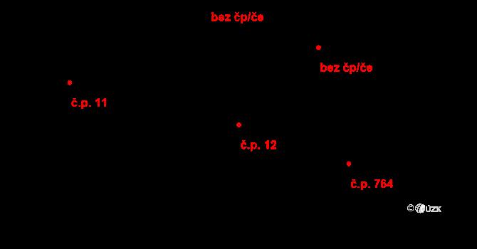 Horní Bříza 12 na parcele st. 19/1 v KÚ Horní Bříza, Katastrální mapa