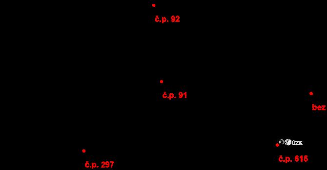Hejnice 91 na parcele st. 33 v KÚ Hejnice, Katastrální mapa