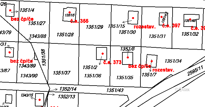 Hloubětín 373, Praha na parcele st. 1351/2 v KÚ Hloubětín, Katastrální mapa