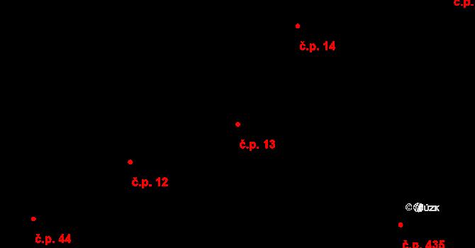 Kozmice 13 na parcele st. 622 v KÚ Kozmice, Katastrální mapa