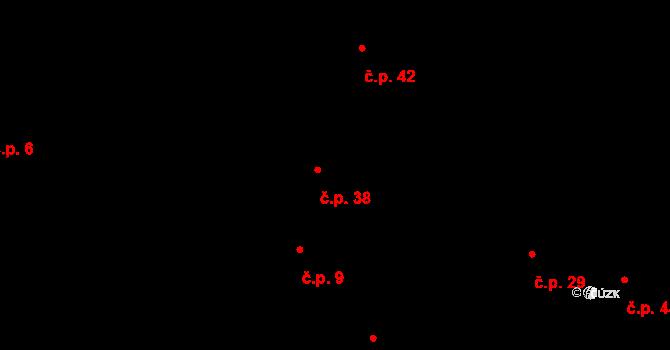 Šárovcova Lhota 38 na parcele st. 16 v KÚ Šárovcova Lhota, Katastrální mapa