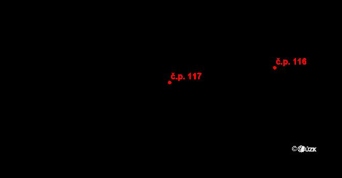 Dolní Pěna 117 na parcele st. 230 v KÚ Dolní Pěna, Katastrální mapa
