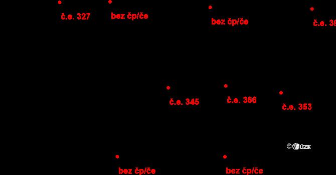 Hloubětín 345, Praha na parcele st. 1343/13 v KÚ Hloubětín, Katastrální mapa