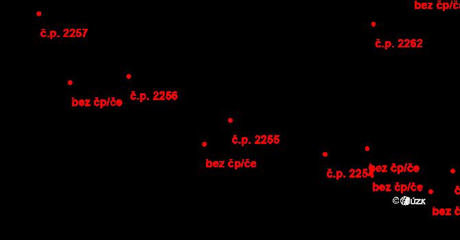 Teplice 2255 na parcele st. 2805/5 v KÚ Teplice, Katastrální mapa