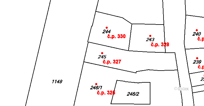Staré Město 327, Praha na parcele st. 245 v KÚ Staré Město, Katastrální mapa