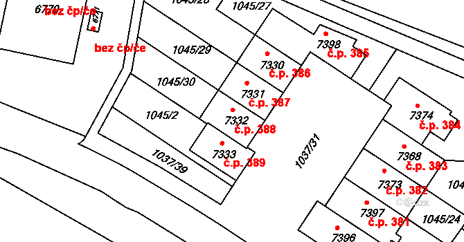 Nové Město 388, Třebíč na parcele st. 7332 v KÚ Třebíč, Katastrální mapa