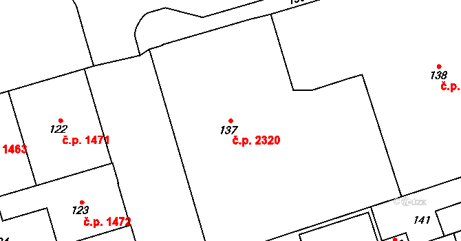 Kladno 2320 na parcele st. 137 v KÚ Kladno, Katastrální mapa
