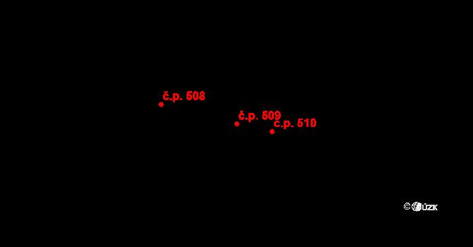 Bojkovice 509 na parcele st. 621 v KÚ Bojkovice, Katastrální mapa